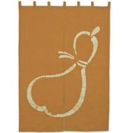 Orange Noren Curtain with Hyotan Design