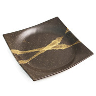 "Abstract Square Brown Plate 8.75"" x 8.75"""
