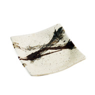 "Abstract Square Ivory Plate 5.25"" x 5.25"""