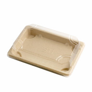 "ST-3G Biodegradable Take Out Sushi Tray 6 1/2"" x 4 1/2"" (50/pack)"