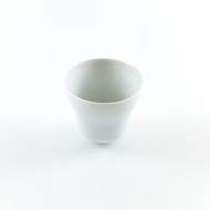 White Ceramic Sake Cup with Curved Bottom 3 oz