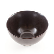 "Black Noodle Bowl with Dark Brown Lines 5 7/8"" dia"