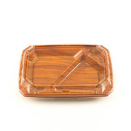 "COT 55 Wood Pattern Take Out Bento Box 9"" x 6 1/8"" (50/pack)"