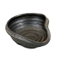 "Charcoal Gray Asymmetrical Bowl 9.84"" x 8.27"""
