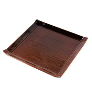 "Glossy Brown Square Plate 9 5/8"" x 9 5/8"""