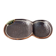 """2 Compartment Brown Plate 7"""" x 4.6"""""""