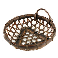 "Washable Dark Brown Round Faux Bamboo Basket 7 1/8"" dia"