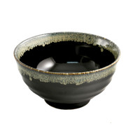 "Glossy Black Noodle Bowl with Blue Trim 6 3/4"" dia"
