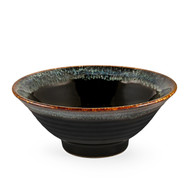 "Glossy Black Noodle Bowl with Blue Trim 33 fl oz / 7.68"" dia"