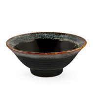 "Glossy Black Noodle Bowl with Blue Trim 33 fl oz / 7.68"" dia"