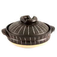 "Striped Donabe Earthen Casserole 8.125"" dia"