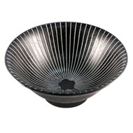 "Black Bowl with Stripes 7 5/8"" dia"