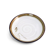 "White Plate with Brown Trim 5 7/8"" dia"