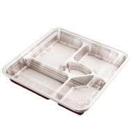 "Z-85-1 Red Take Out Bento Box  10 5/8"" x 10 5/8"" (20/pack)"