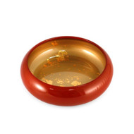 "Red Sushi Serving Tray with Gold Interior 6 5/8"" dia"