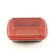 "BF-211 Black & Red Square Take Out Bento Box 7.6"" x 5.25"" (50/pack)"