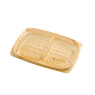 "[Clearance] BF ECO Take Out Food Tray Light Wood Pattern 6"" x 4 1/4"" (50/pack)"
