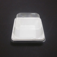 "[Clearance] White Take Out Tray Flat Square 3 1/2"" x 3 1/2"" (50/pack)"
