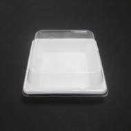 "[Clearance] White Take Out Tray Flat Square 4 3/4"" x 4 3/4"" (50/pack)"