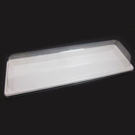 "[Clearance] White Take Out Tray Flat Rectangular 13 3/8"" x 4 3/8"" (50/pack)"