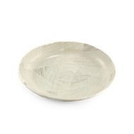 """[Clearance] Glossy White Plate with White Brushstroke 7 1/2"""" dia"""