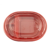 "[Clearance] BF-140 Black & Red Square Take Out Bento Box 3 Compartments 8"" x 6"" x 1 3/4"" (100/pack)"