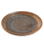 "Large Round Plate Tetsuaka Iron Red Ceramic 10.4"" dia"