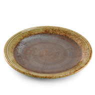 "Large Round Plate Haifuki Brown Ceramic 10.47"" dia"