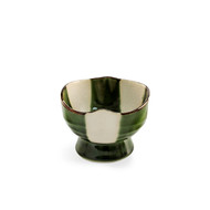 "Oribe Green & Ivory Checkered Small Bowl 3.75"" dia"