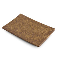 "Textured Rectangular Plate Earthy Brown Ceramic 8 1/4"" x 5 1/8"""