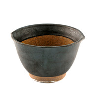 "Black Double Lipped Large Bowl with Japanese-style Mortar (Suribachi) 6"" dia x 3 7/8"" ht"