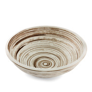 "Rustic Noodle Bowl with Gray Swirls 9 1/4"" dia"