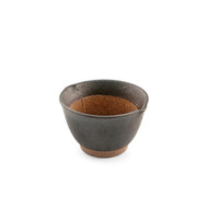 "Black Double Lipped Small Bowl with Japanese-style Mortar (Suribachi) 4"" dia x 2 1/2"" ht"