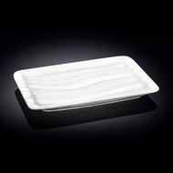 "Wilmax Rippled White Rectangular Plate 10.5"" x 6.5"""