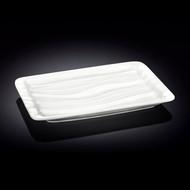 """Wilmax Rippled White Rectangular Plate 10.51"""" x 6.69"""""""