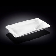 "Wilmax White Rectangular Divided Plate 8"" x 4.5"""