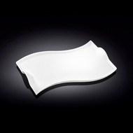 Wilmax White Wavy Rectangular Serving Plate 10""