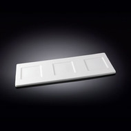 "Wilmax 3-Well White Rectangular Tasting Board 14"" x 5"""