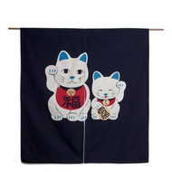 Noren Curtain with Welcome Cat Family Navy