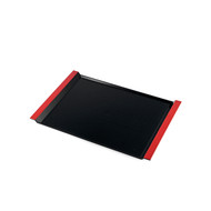 "Resin Black Serving Tray with Red Handles 14 3/8"" x 10"""
