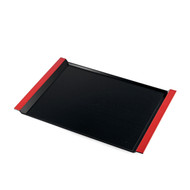 "Resin Black Serving Tray with Red Handles 17"" x 11 3/4"""