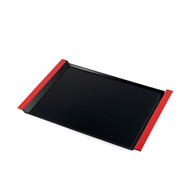 "Resin Black Serving Tray with Red Handles 15 1/2"" x 10 7/8"""