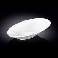 "Wilmax Asymmetrical Oval White Dinner Bowl 11"" x 7.5"""