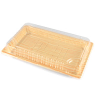 "TZ-015 Light Wood Pattern Take Out Sushi Tray 8 1/2"" x 5 1/3"" (50/pack)"