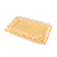 "TZ-010 Light Wood Pattern Take Out Sushi Tray 7 3/8"" x 5 1/3"" (50/pack)"