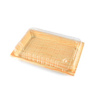 "TZ-008 Light Wood Pattern Take Out Sushi Tray 6 1/2"" x 4 1/2"" (50/pack)"