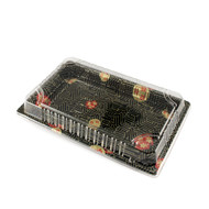"TZ-010 Black Designed Take Out Sushi Tray 7 1/3"" x 5 1/3"" (50/pack)"