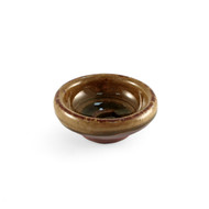 "Brown Soy Sauce Dish with Oribe Green Swirl 2.7"" dia"