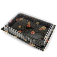 "TZ-025 Black Designed Take Out Sushi Tray 10"" x 7.25"" (42/pack)"