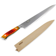 "Nenox Sujihiki Knife 285mm (11.2"") Autumn Gold Jigged Bone Handle with Saya Cover"